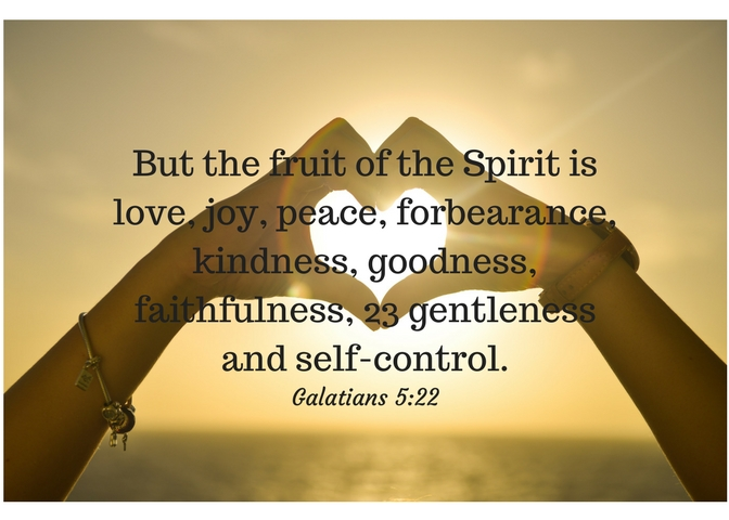 But the fruit of the Spirit is love, joy, peace, forbearance, kindness, goodness, faithfulness, 23 gentleness and self-control.